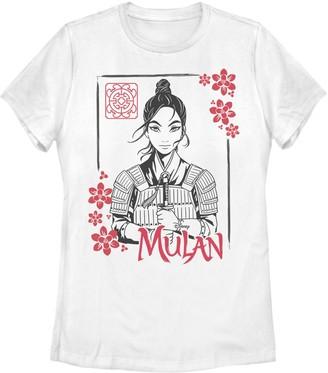 Licensed Character Juniors' Disney Mulan Floral Ink Portrait Tee
