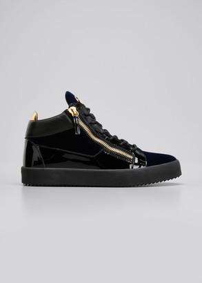 Giuseppe Zanotti Men's Velvet & Patent Leather Mid-Top Sneakers