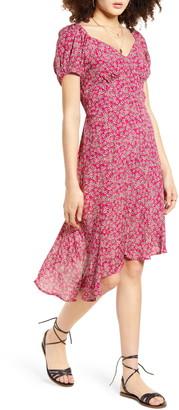 Band of Gypsies Lake Como Floral Print Faux Wrap Dress
