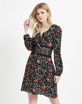 Boohoo Floral Crochet Waist Dress