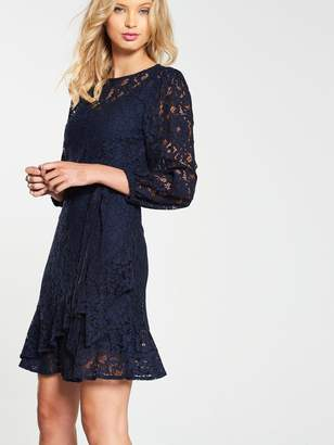 Very Lace Tiered Skater Dress - Navy