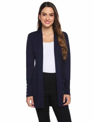 Abollria Women's Cardigan Autumn Winter Waterfall Long Sleeve Open Front Knitted Sweater Jumper Cardigan Navy Blue