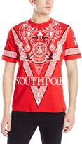 Southpole Men's Flock and Screen Print Graphic Tee with Large V Pattern and Logo