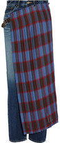 Facetasm Pleated Wool Blend-paneled High-rise Slim-leg Jeans