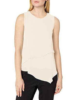 Vince Camuto Women's Sleeveless Asymmetric Hem Double Layer Chiffon Blouse