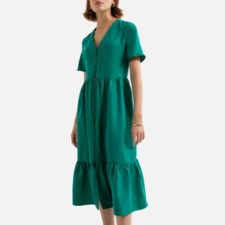 La Redoute Collections Satin Button-Through Midi Dress with Short-Sleeves and V-Neck