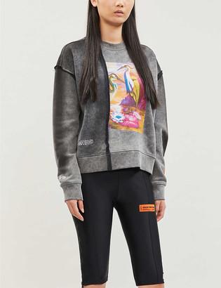 Heron Preston Raw Edge cropped crewneck cotton-jersey sweatshirt