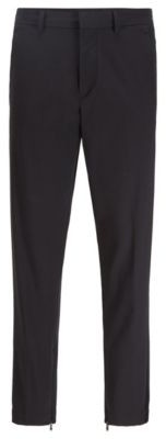 HUGO BOSS Tapered Fit Pants In Stretch Fabric With Zipped Hems - Black