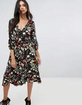 boohoo Floral Wrap Midi Dress With Tie Sleeve Detail