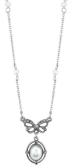 Downton Abbey Crystal Bow Oval Imitation Pearl Drop Necklace