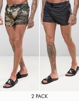 Brave Soul Bravesoul 2 Pack Short Length Swim Shorts in Solid Black and Camo Print