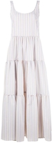 Lisa Marie Fernandez Three Tier Sleeveless Seersucker Dress