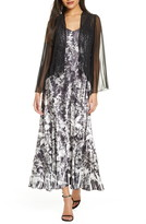 Komarov Floral Charmeuse & Chiffon Maxi Dress & Jacket