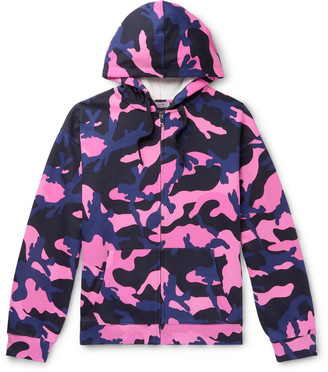 Valentino Camouflage-Print Loopback Cotton-Blend Jersey Zip-Up Hoodie