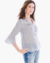 Chico's Striped Flare-Sleeve Top