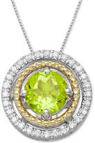Macy's Peridot (1 ct. t.w.) & Diamond Accent Two-Tone Pendant Necklace in Sterling Silver & 14k Gold