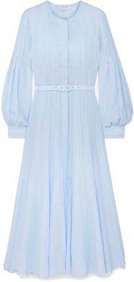 Gabriela Hearst Gertrude Belted Pintucked Linen Midi Dress