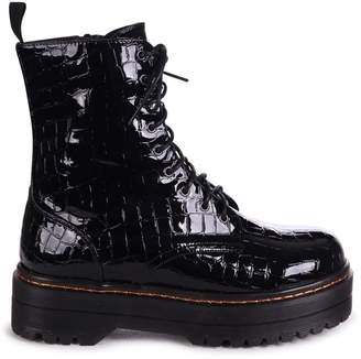 Mae Linzi Black Croc Patent Military Style Lace Up Boot With Chunky Rubber Sole