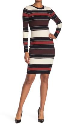 Planet Gold Striped Metallic Long Sleeve Bodycon Midi Dress