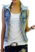 MIAOSHI MS Women Summer Sleeveless Outerwear Polo Jeans Tops Jacket Denim Vest L
