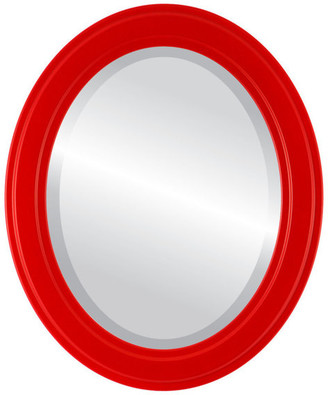 """The Oval And Round Mirror Store Wright Framed Oval Mirror in Holiday Red, 23""""x33"""""""