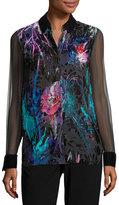 Elie Tahari Martha Long-Sleeve Floral Velvet Blouse