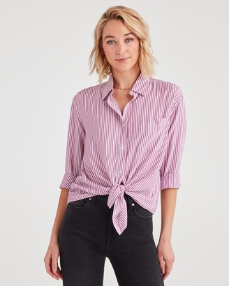 7 For All Mankind Striped High Low Tie Front Shirt in Electric Pink with White Stripes