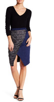 Catherine Malandrino Faux Suede Paneled Wrap-Over Skirt