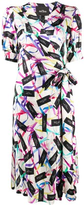 Marc Jacobs ribbon logo print wrap dress