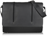 "Giorgio Fedon Web Black Leather and Nylon Messenger Bag w/15"" Laptop Compartment"
