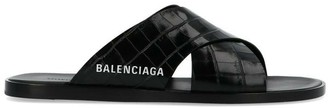 Balenciaga Embossed Crossover Slides