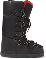 Moncler Leather-Trimmed Shell Snow Boots