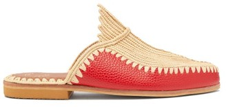 Kilometre Paris - Raffia And Leather Backless Loafers - Red