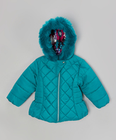 Pacific Trail Green Faux Fur Diamond Quilted Puffer Coat - Toddler