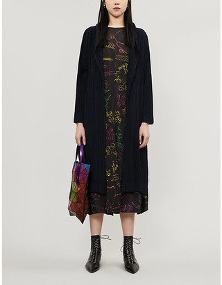 Pleats Please Issey Miyake Shawl-collar pleated wool-blend coat