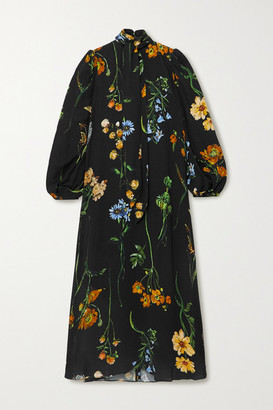 Lela Rose Convertible Tie-detailed Floral-print Georgette Midi Dress - Black