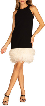 Trina Turk Berry Sleeveless Shift Dress with Feather Trim