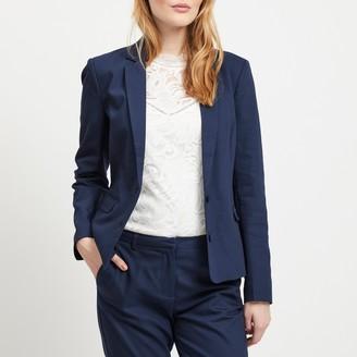 Vila Denim Single-Breasted Blazer with Pockets