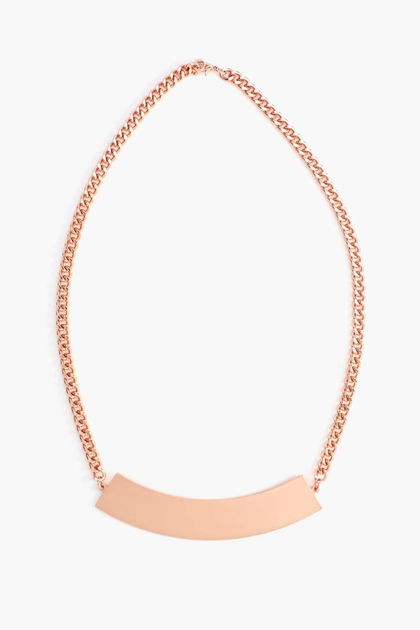 Nasty Gal Metal Bar Necklace - Rose Gold