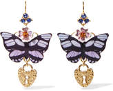 Dolce & Gabbana Gold-tone, Enamel And Crystal Earrings