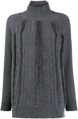 Lorena Antoniazzi faux-fur trimmed jumper
