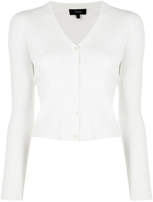 Theory White Cropped Cardigan