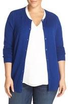 Sejour Plus Size Women's Crewneck Wool & Cashmere Cardigan