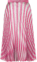 Gucci Pleated Metallic Striped Stretch-silk Midi Skirt - Blush