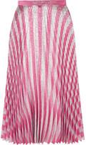 Gucci Pleated Metallic Striped Stretch-silk Midi Skirt - Blush