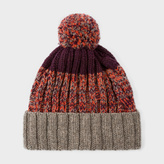 Paul Smith Men's Damson Lambswool Twisted-Yarn Cable Knit Bobble Hat