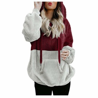 Ifoundyou Women Hoodies Teddy Bear Hooded Drawstring Pullover Fuzzy Oversize Fluffy Sweater Warm Long Sleeve Outerwear