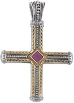 Konstantino Men's Sterling Silver & 18K Gold Cross Pendant with Ruby