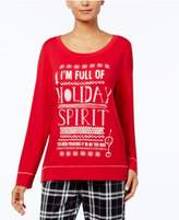 Hue Holiday-Print French Terry Pajama Top