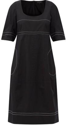 Lee Mathews May Topstitched Cotton-poplin Midi Dress - Black
